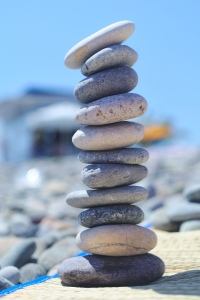 Stacked pebbles.
